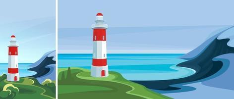 Seelandschaft mit Leuchtturm. schöne Landschaft in vertikaler und horizontaler Ausrichtung. vektor