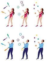 Jongleure mit Schlägern, Ringen und Bällen gesetzt vektor