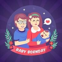 Karikatur des Tages des geborenen Babys vektor