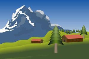 einzigartige Grün- und Berglandschaft vektor