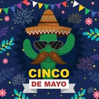 fröhlicher cinco de mayo mit kaktus charakter vektor