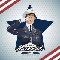 respektfull soldat med amerikanskt flaggmönster vektor