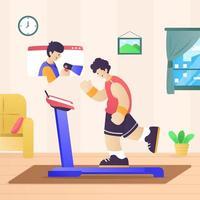 Online-Workout-Coach-Telefonkonferenz vektor