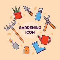 trädgårdsskötsel ikon samling vektor
