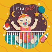 Baby Girl Bornday Vorlage vektor