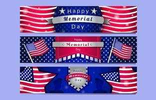 Happy Memorial Day Banner Set vektor