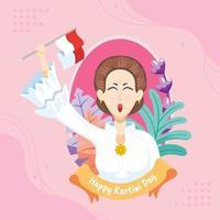 Kartini Tag Hintergrund Design vektor