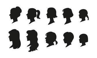 olika frisyrer skuggor för kvinnor. handritade stilvektordesignillustrationer.