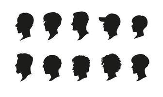 olika frisyrer skuggor för män. handritade stilvektordesignillustrationer.