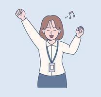 Eine Büroangestellte hat einen aufgeregten Ausdruck. Hand gezeichnete Art Vektor-Design-Illustrationen. vektor