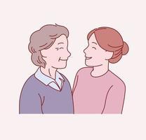Die alte Mutter und die kleine Tochter stehen sich gegenüber. Hand gezeichnete Art Vektor-Design-Illustrationen. vektor