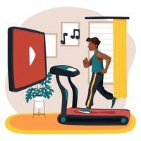Online virtuelles Fitnessstudio zu Hause vektor