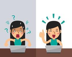 vektor tecknad kvinna uttrycker olika känslor