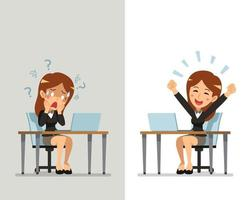 tecknad affärskvinna som uttrycker olika känslor vektor