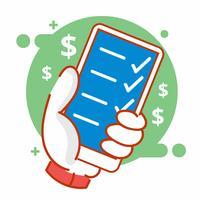 Stilvolle Zeichnungs-Art-Illustration der mobilen Transaktion