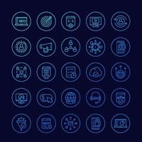 seo och digital marknadsföringsikoner, linjär uppsättning vektor