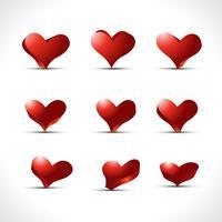 vektor uppsättning hjärtan