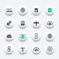 5g nätverk, mobil kommunikation, anslutning, mobil internet ikoner set