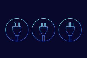 elektriska pluggar ikoner, linjär vektor