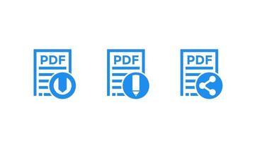 pdf-dokument, ladda ner pdf-fil, redigera och dela vektorikoner på vitt vektor
