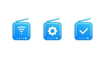 router ikoner på vitt, vektor
