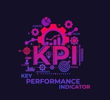 kpi, nyckelprestationsindikator, ledningskoncept, vektor