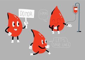 Blod Drive Rolig karaktär Mascot Vector Illustration