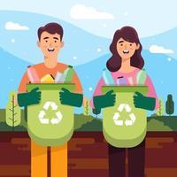 Mann und Frau sammeln Müll, um die Erde zu retten vektor