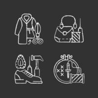 klädreparation krita vita ikoner på svart bakgrund