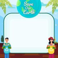 rette die Erde mit dem Müllhintergrund recyceln vektor