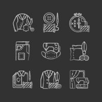 sömnad tjänster krita vita ikoner på svart bakgrund