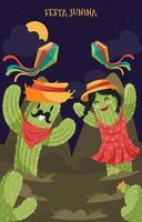 festa junina kaktus karaktär vektor