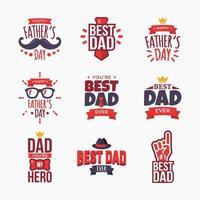 Satz glücklicher Vatertagsabzeichen vektor
