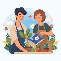 Ein Paar pflanzt und arbeitet gerne im Garten vektor