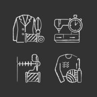 outfit reparation tjänster krita vita ikoner på svart bakgrund