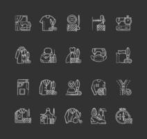 klädbyte och reparationstjänster krita vita ikoner på svart bakgrund