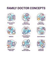 husläkare konceptet ikoner set