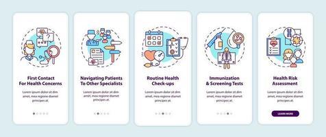 Hausarzt Aufgaben Onboarding Mobile App Seite Bildschirm mit Konzepten vektor