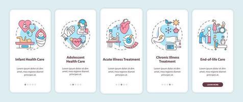 Unterstützung des Hausarztes beim Onboarding des Bildschirms der mobilen App mit Konzepten vektor