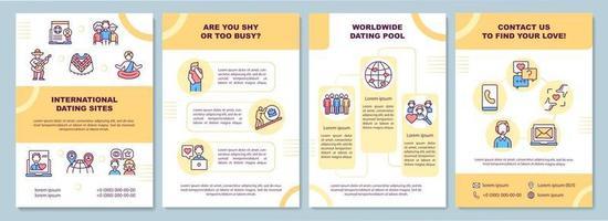 Broschüre Vorlage für internationale Dating-Sites vektor