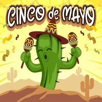 Cartoon Kaktus tanzen feiern Cinco de Mayo vektor