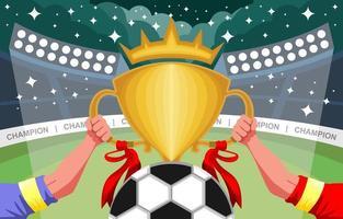 Fußballmeisterschaft mit goldener Trophäe vektor