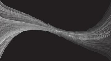 vit abstrakt digital ljudvåg på svart bakgrund vektor