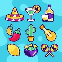 uppsättning ikoner för cinco de mayo vektor