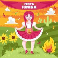Mädchen, das festa junina am Sonnenuntergang feiert vektor