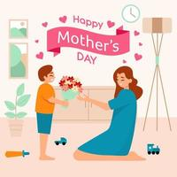 Junge gibt seiner Mutter Blumen vektor