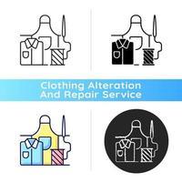 Arbeitskleidung reparieren schwarze lineare Ikone