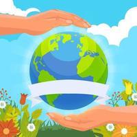 Tag der Erde Hintergrund mit Handpflege vektor