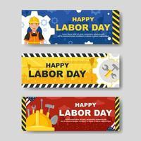 Happy Labour Day Banner Set vektor