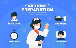 Infografik-Vorlage für den Impfstoffvorbereitungsschritt vektor